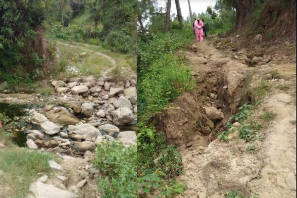 फ़ोटो: गोयला पंचायत के पैँद व बागी गांव को जाने खस्ताहाल संपर्क मार्ग व नाले पर बनी पुली बह गई
