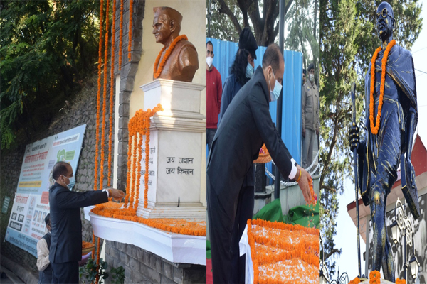 Chief Minister Jai Ram Thakur, state leaders and people from different walks of life offered floral tributes on memorial of Mahatma Gandhi at the historic The Ridge, here today on 151st birth anniversary of the Father of Nation. Chief Minister also offered floral tributes on the memorial of former Prime Minister Shri Lal Bahadur Shashtri on his birth anniversary. Chief Minister termed him as an apostle of simplicity, peace and harmony.