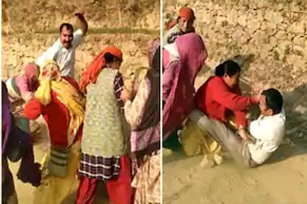मंडी में महिलाओं का कहर, जमीन मालिक को पत्थर और लाठियों से धुना