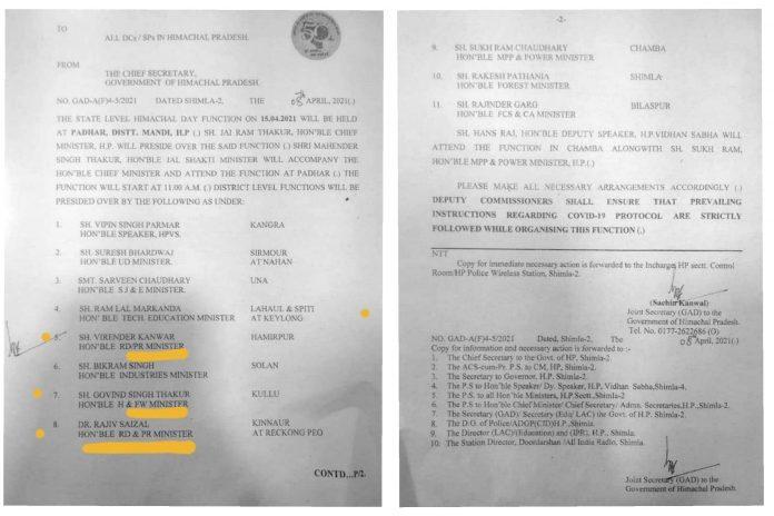 सरकारी अधिसूचना में बदला दिए मंत्रियों के विभाग