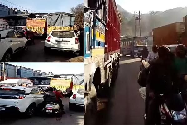 दुर्घटनाओं को न्यौता दे रहे परवाणू में अवैध रूप से सड़क किनारे खड़े ट्रक
