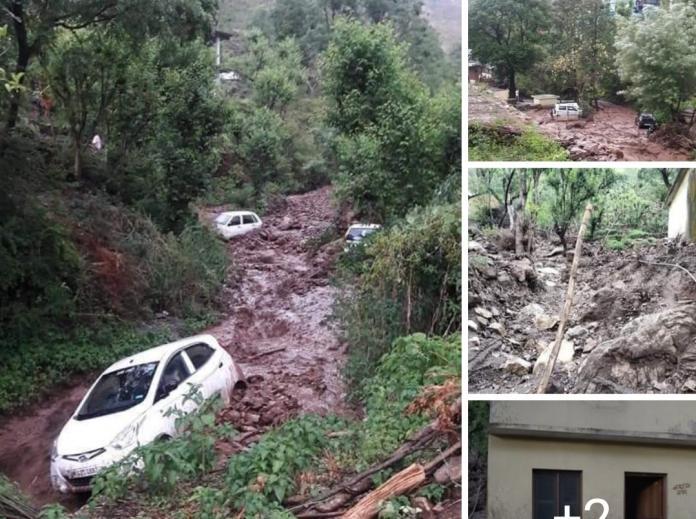 अर्की तहसील के कन्धर गांव में बादल फटने से भारी नुकसान